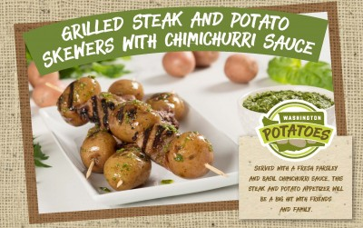 Grilled Steak and Potato Skewers with Chimichurri Sauce