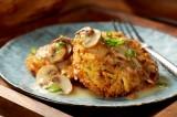Crispy Washington Potato and Lentil Cakes with Mushroom Velouté