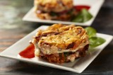 Potato Pancake Grilled Cheese with Bacon & Spinach