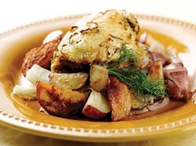 Roasted Chicken with Potatoes, Fennel and Onions