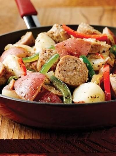 Sausage, Potato and Pepper Saut??