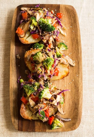 Sesame Stir - Fry Baked Potatoes