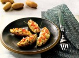 Twice-Baked Russian Banana Fingerling Potatoes with Smoked Salmon and Ikura