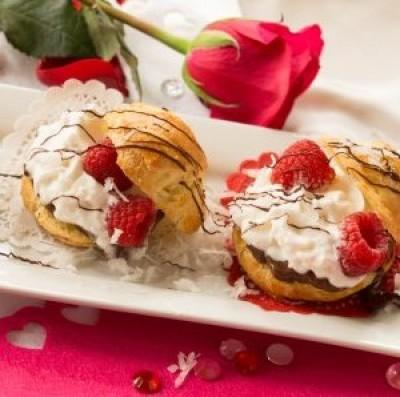 Chocolate-Raspberry Cream Puffs